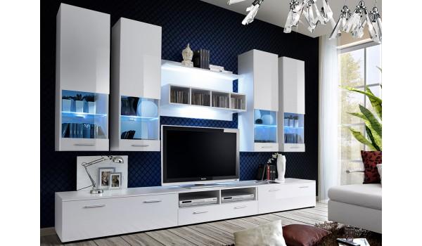 meuble salon tv blanc laque 3m