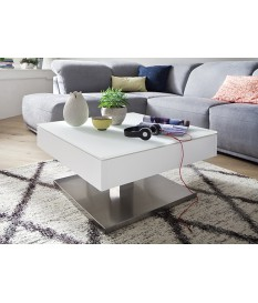 table basse blanche pied en acier