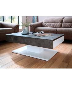 table basse blanche gris beton design