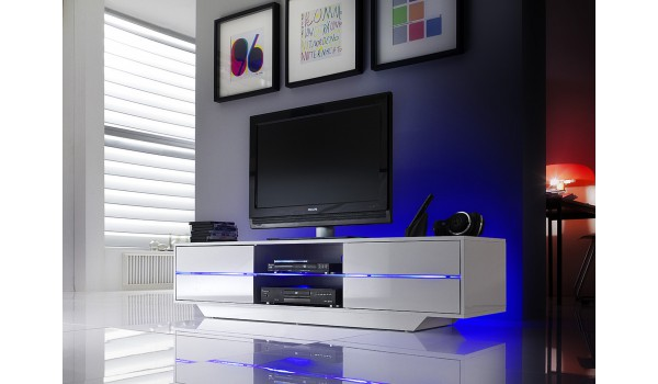 meuble tv blanc laque design led bleu