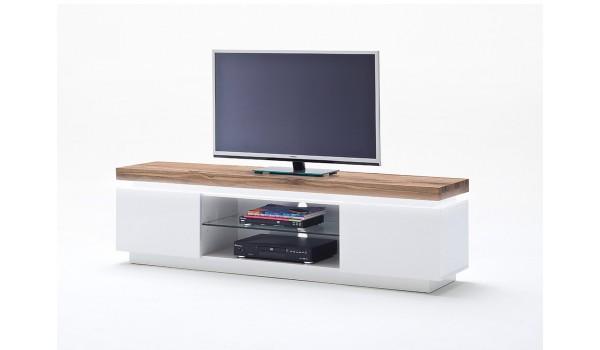 meuble tv chene massif et blanc laque mat