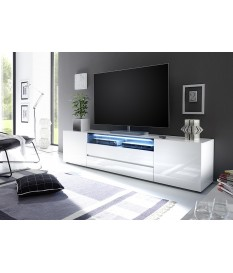 meuble tv 203 cm blanc laque design led