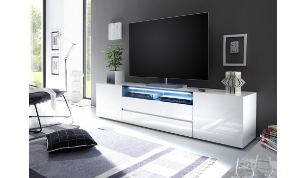 meuble tv 203 cm blanc laque design led blanc