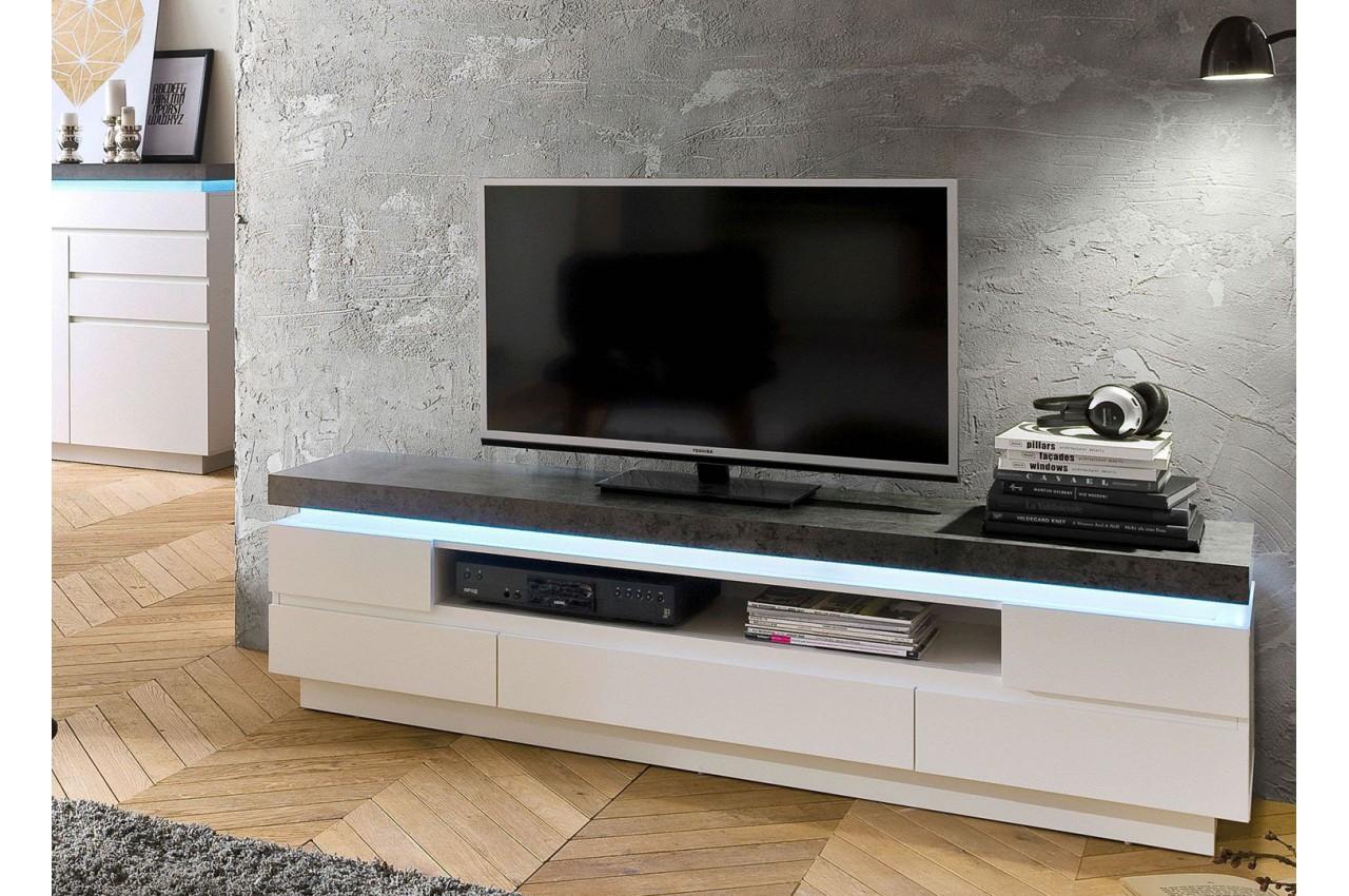 Meuble TV LED Gris Et Blanc Pour Salon