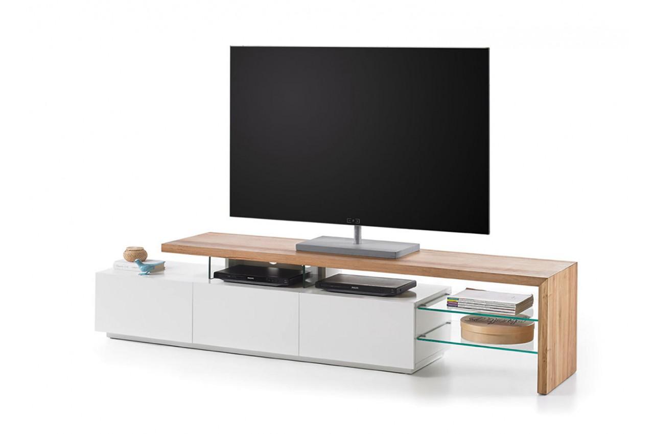 Meuble TV Design Bois Et Blanc Novomeuble