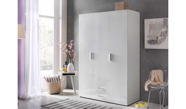 armoire dressing blanche 3 portes 2 tiroirs