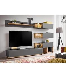 meuble tv design led gris bois pour salon