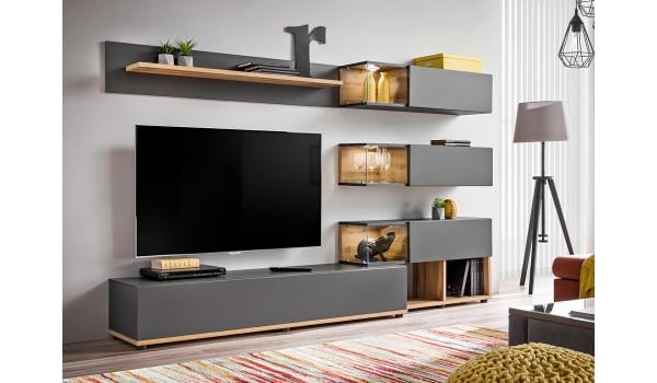 meuble tv design led gris bois