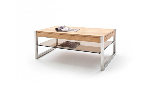 table basse rectangulaire pas cher bois massif verre et acier