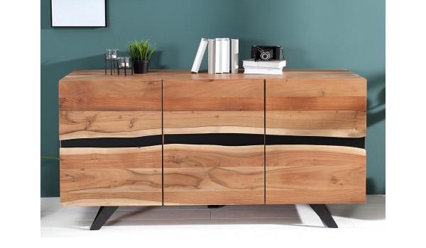 buffet bois massif et metal 150 cm acacia