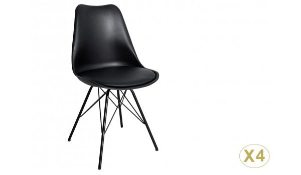 chaise noire matelassee simili cuir noir pieds metal