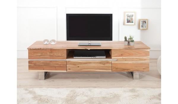 meuble tv design en bois acacia 160 cm