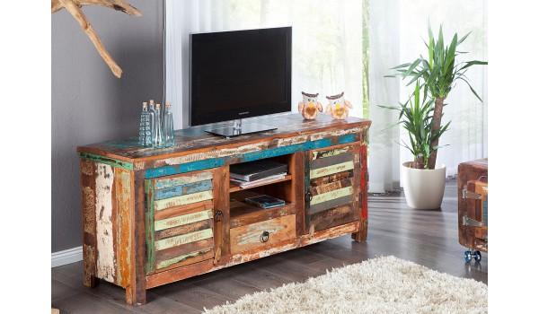 meuble tv industriel en bois recycle