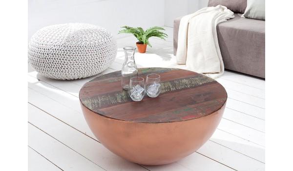 table basse ronde alu cuivre et bois