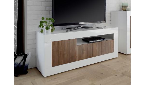 meuble tv bas blanc et bois design