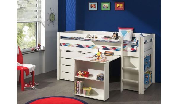 lit mi hauteur blanc bureau etirable et rangement