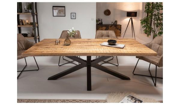 table 200 cm en bois massif et pied metal noir design