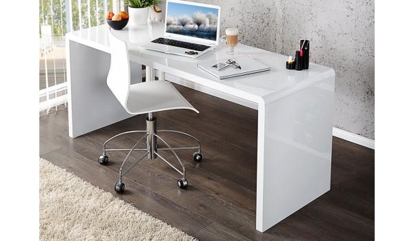 bureau simple blanc laque brillant pas cher