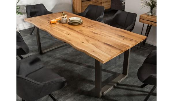 table sejour salle a manger acier et bois industriel 200 cm