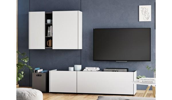 meuble tv bas et meuble mural blanc gris