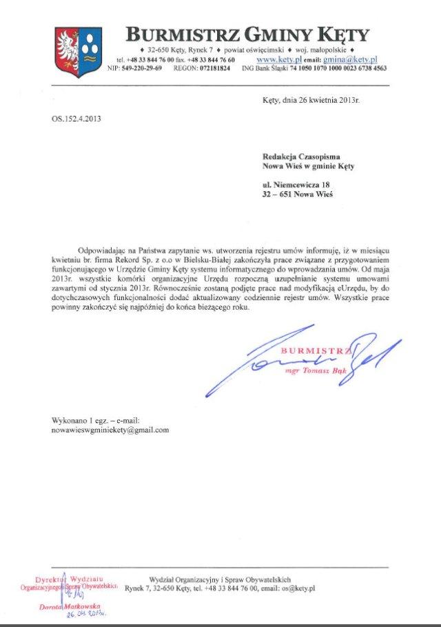 UG Kęty - Rejestr Umów (26.04.2013 r.)