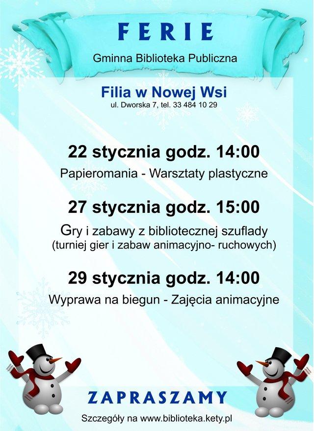 Nowa Wieś Ferie 2016 [FILIE] plakat