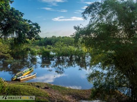 Widok na wodę i łódki w dżungli amazońskiej
