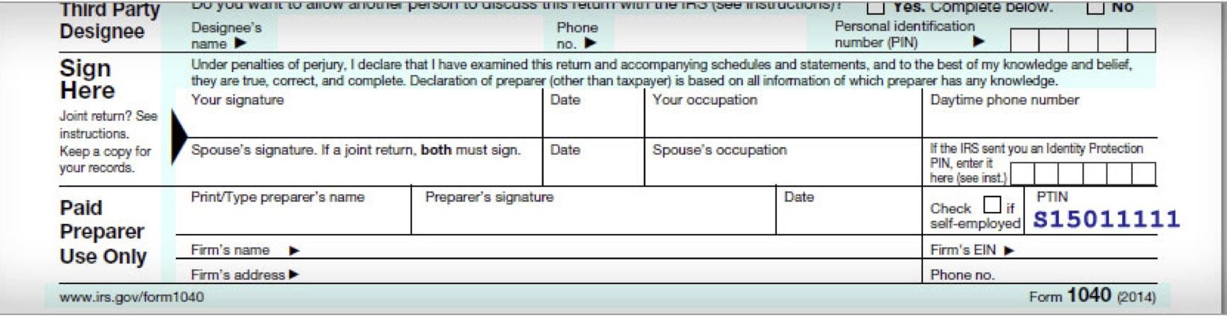 Irs Federal Long Form 1040 Signature Line Election 2016 No Way Trump