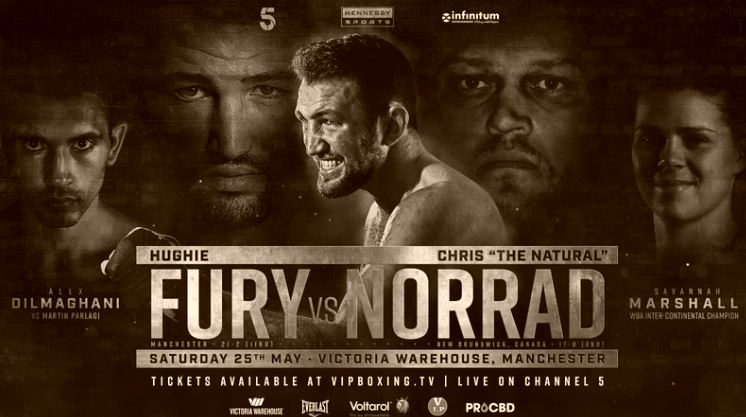 Hughie Fury vs Chris Norrad, Alex Dilmaghani, and Savannah Marshall Live on Channel 5