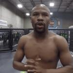 Floyd Mayweather in UFC octagon