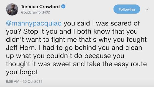 Terence Crawford responds to Manny Pacquiao saying he was scared of him