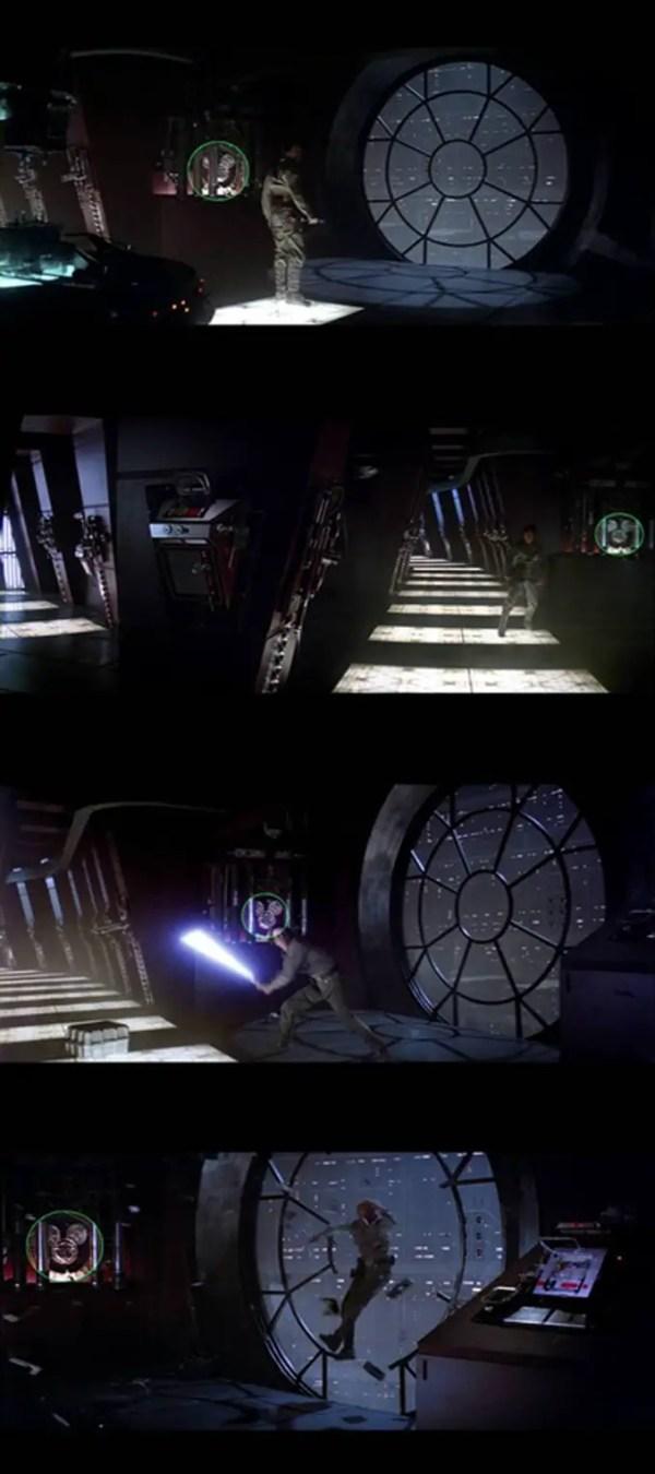 La tête et les oreilles de Mickey apparaissent dans différentes scènes du film Star Wars épisode V