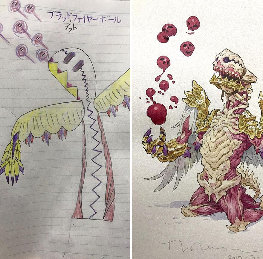 150295886288404 - 插畫家老爸把「兒子塗鴉的怪獸」重新畫一次,網友看到作品後大讚:「有神快拜!」