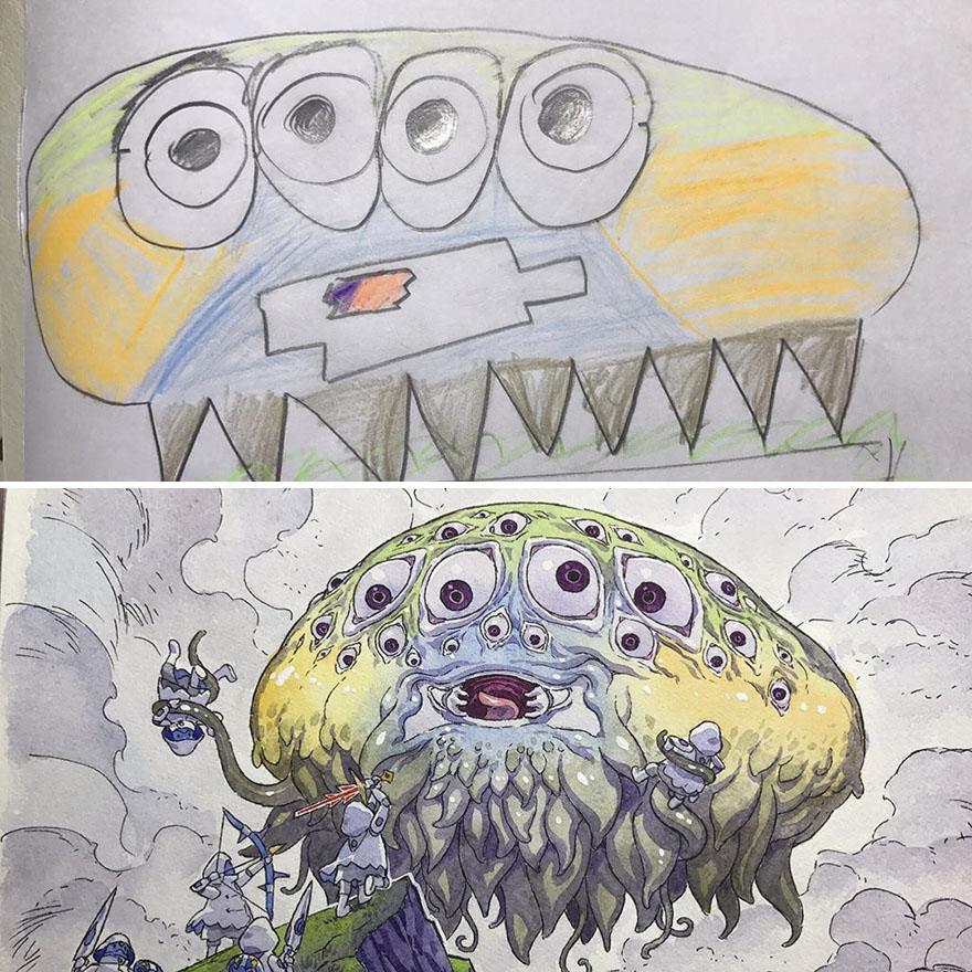 150295886293961 - 插畫家老爸把「兒子塗鴉的怪獸」重新畫一次,網友看到作品後大讚:「有神快拜!」