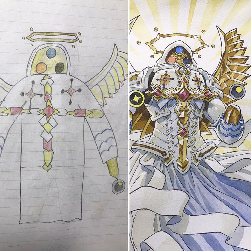 150295886356080 - 插畫家老爸把「兒子塗鴉的怪獸」重新畫一次,網友看到作品後大讚:「有神快拜!」
