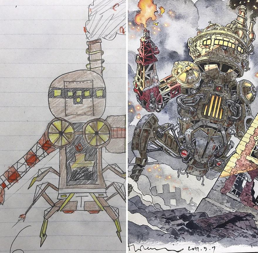 150295886480596 - 插畫家老爸把「兒子塗鴉的怪獸」重新畫一次,網友看到作品後大讚:「有神快拜!」