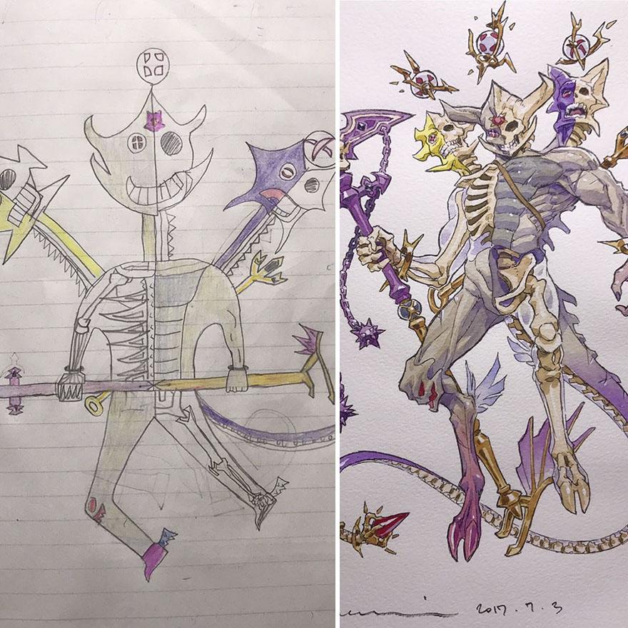 15029588728140 - 插畫家老爸把「兒子塗鴉的怪獸」重新畫一次,網友看到作品後大讚:「有神快拜!」