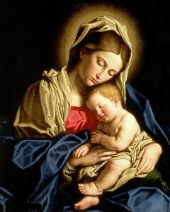 One of my favorite depictions of Mary as the mother of Christ. This is Madonna & Child by Sassoferrato, an Italian artist from the 17th century.