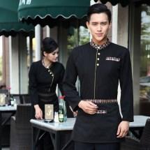 Casual Asian Style Restaurant Hotel Clerk Waiter Uniform