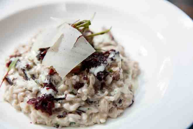 RADICCHIO RISOTTO WITH GORGONZOLA CHEESE FONDUE