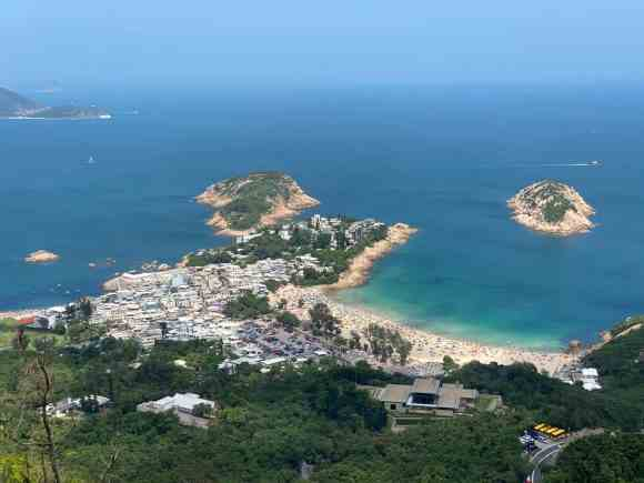 Shek-O Village on a very clear day with deep blue water