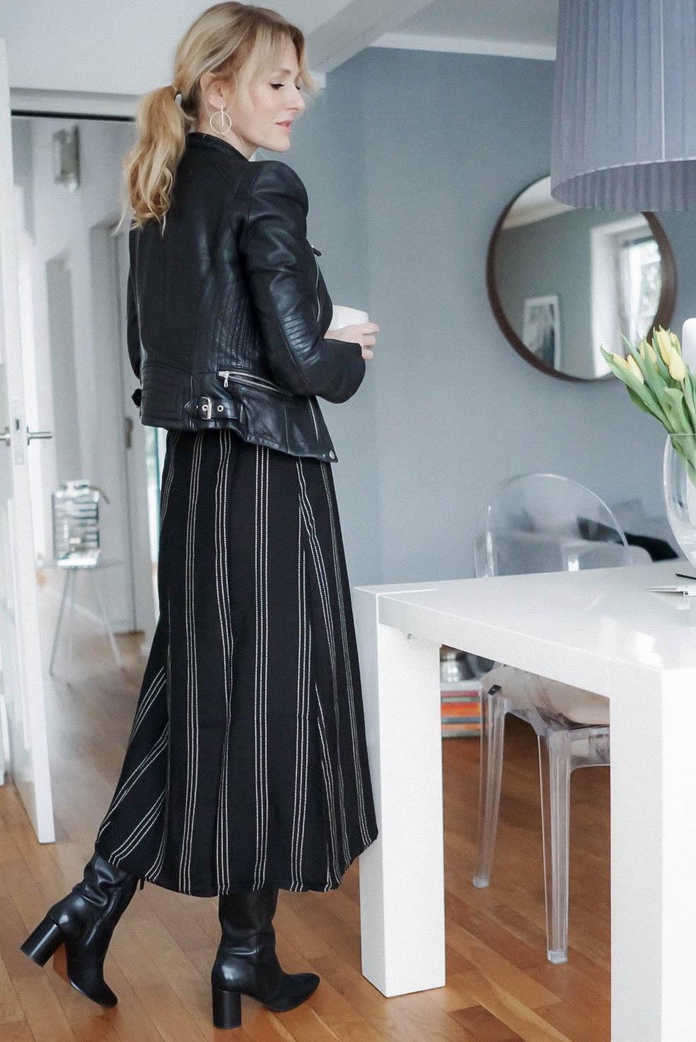 Mode kombinieren-Midikleid im Winter zu Stiefeln-Kleid von H&M-Nowshine Fashion über 40