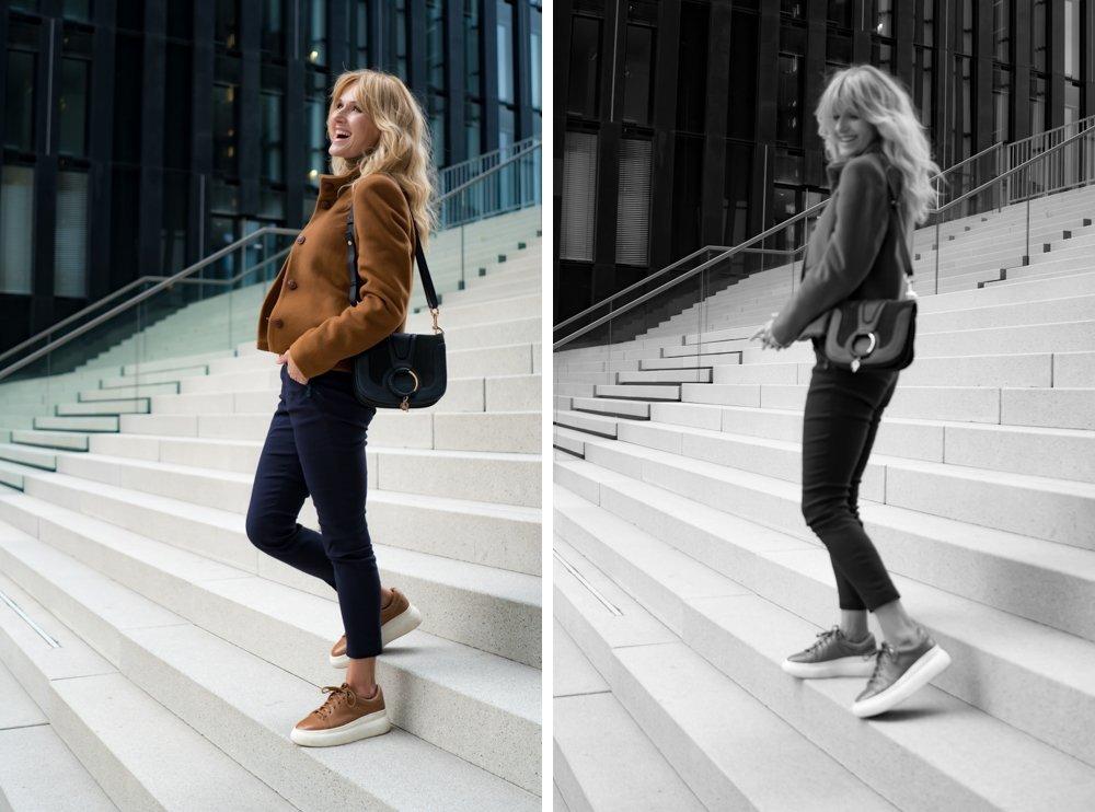 Bequeme Hose von Peter Hahn - Nowshine Modeblog ü40 - moderner Herbstlook 2019 in Cognac und Marineblau
