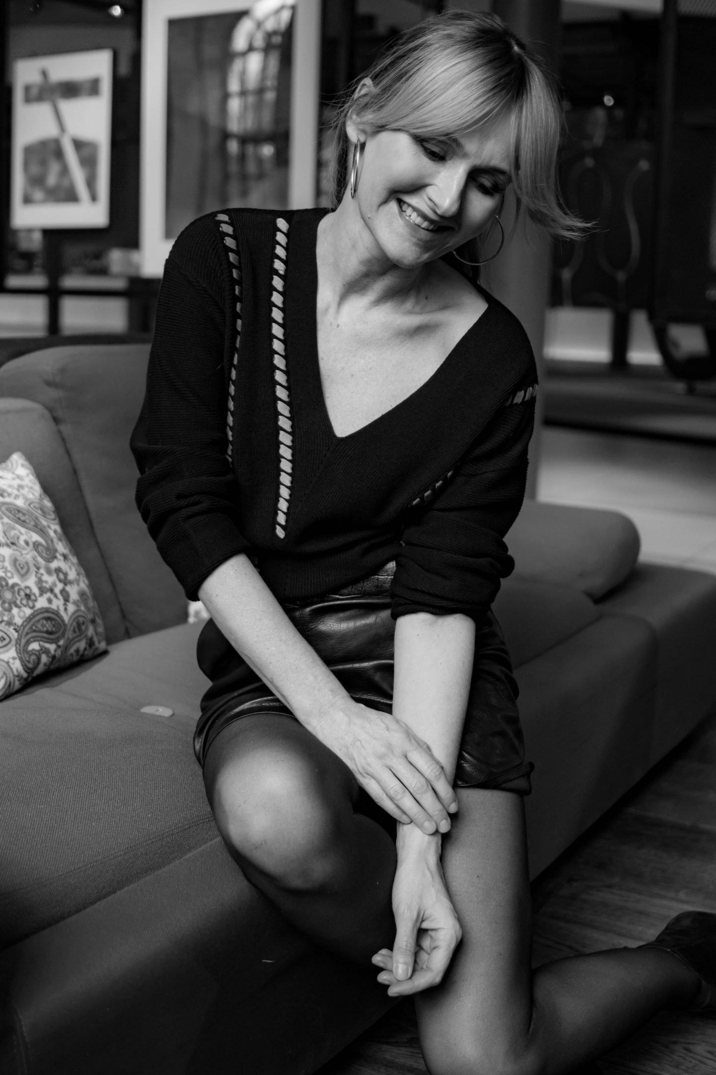 WENZ Pullover-Amy Vermont-zu Lederrock-Nowshine ü40 Blog im Andels Hotel Lodz