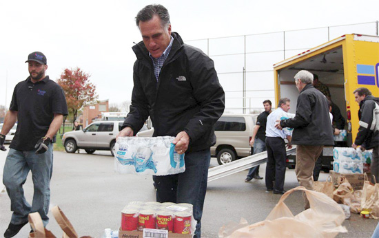 CONTRAST! Romney Does Storm Relief In Ohio While Obama Hides In White House