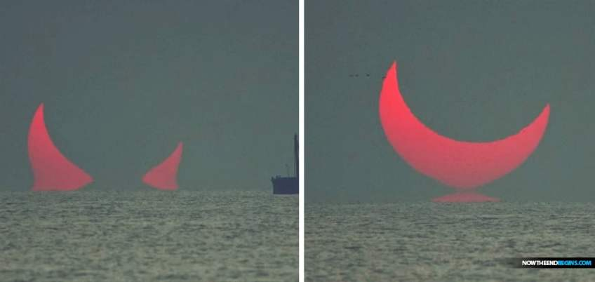 THESE incredible images appear to show giant devil horns rising over the Persian Gulf during a solar eclipse.