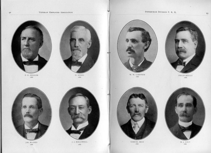 Faces like these were likely on the streets of Pittsburgh when Parton was here. Click to enlarge them. These are local officials of the Pennsylvania Railroad. In the complete version of his story, Parton refers to a young man laughing because he had been waiting three weeks for enough light to sit for a photographic portrait.