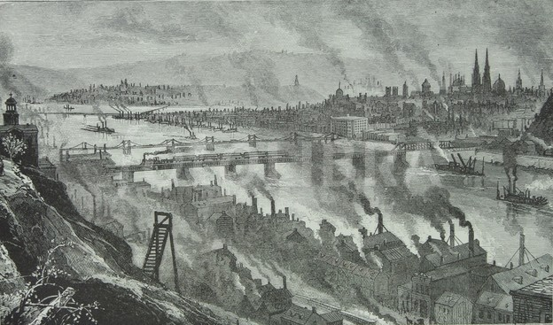 Coal for the fires below came from the hill upon which the artist stood above the Monongahela. Coal transport is the main purpose of the train crossing the bridge. Just beyond it is the Smithfield Street Bridge. The large hotel at the downtown end is where Parton stayed.