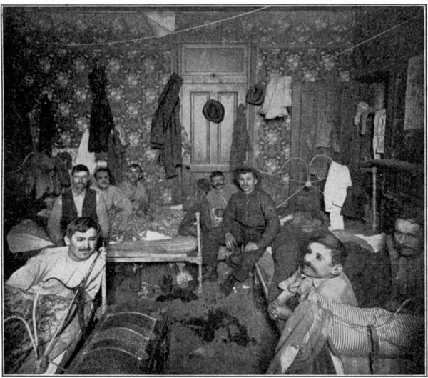Slavic lodging on the South Side is shared by 12 men, including three in one bed. If it still exists today, imagine how much it rents for on what is now the South Side Flats.