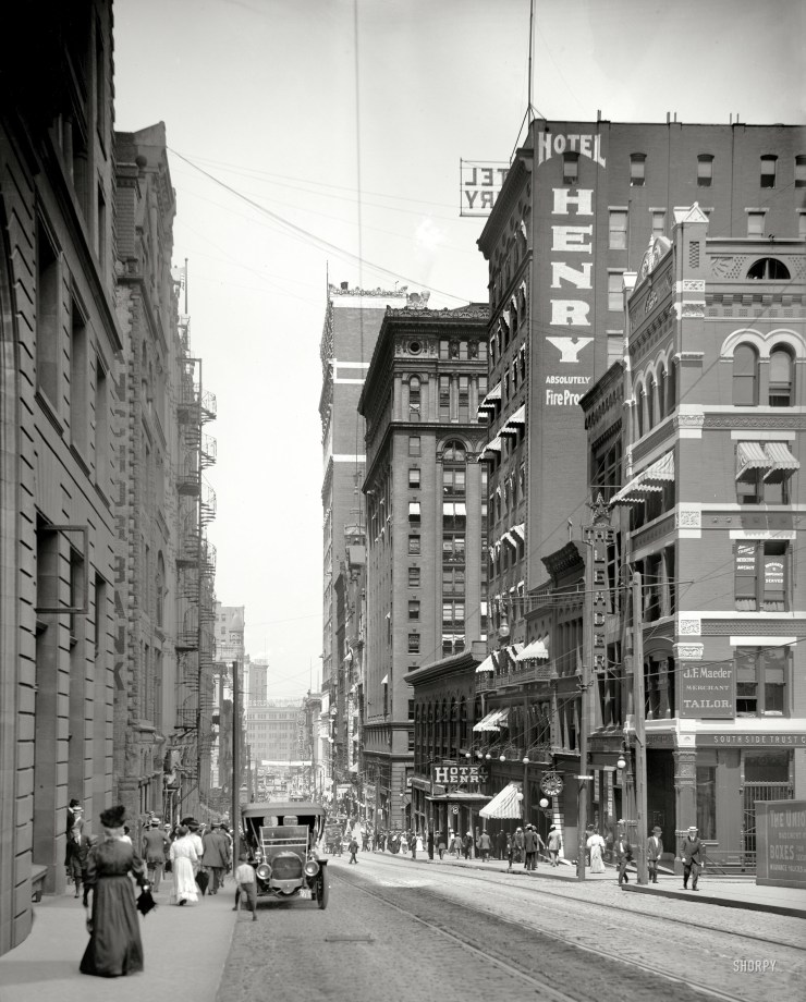 This is Fifth Avenue 107 years ago. It was the main parade route downtown. The photo was taken with an 8x10 glass negative camera, so the detail is quite good. You can zoom in to find your great-grandmother turning heads, or your grandfather as a boy. The Hotel Henry was among the hotels built by Henry Frick, hence the name. Zoom in and you will see the forerunner of the landmark Kaufmann's clock mounted on a post at the corner. Perhaps a car enthusiast out there can tell us something about the one automobile in the street.